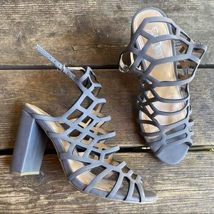 Brash | Caged grey heels size 7